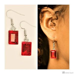 Dining With Divas - Red Faceted Glass Earrings